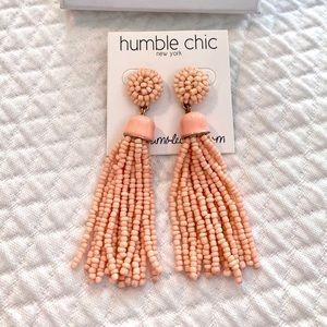 Humble Chic Peach Beaded Tassel Statement Earrings
